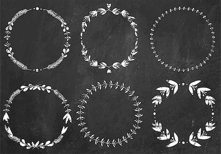 swirly - Set of 6 hand-draw chalk vector victory laurel wreaths for stationary on a black chalkboard background for stationary on a black chalkboard background Stock Photo - Budget Royalty-Free & Subscription, Code: 400-08342551