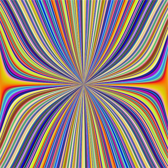 A digital abstract fractal image with a colorful pinched in the middle striped design in yellow, blue, green, orange and red. Stock Photo - Royalty-Free, Artist: Objowl, Image code: 400-08342726