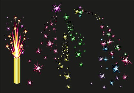 fireworks vector art - Fireworks fountain. Colorful fireworks sparks on black background. Illustration in vector format Stock Photo - Budget Royalty-Free & Subscription, Code: 400-08375731