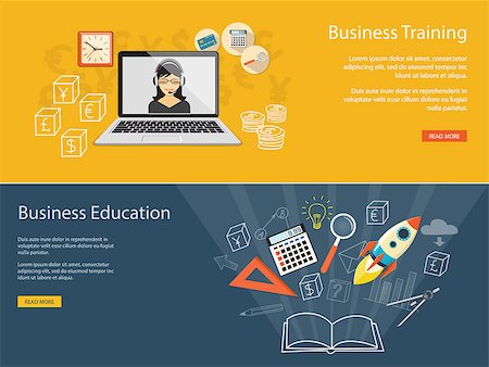 Flat design modern vector illustration concept of business educashion, e-book;  online, e-mail marketing, management, analytics with rocket - eps10 Stock Photo - Budget Royalty-Free & Subscription, Code: 400-08375856