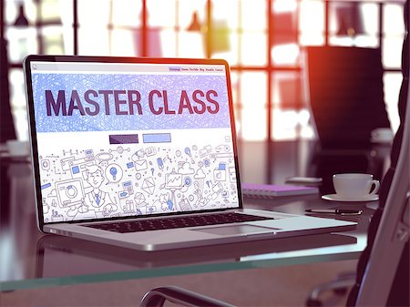 Master Class Concept Closeup on Landing Page of Laptop Screen in Modern Office Workplace. Toned Image with Selective Focus. Stock Photo - Budget Royalty-Free & Subscription, Code: 400-08377443
