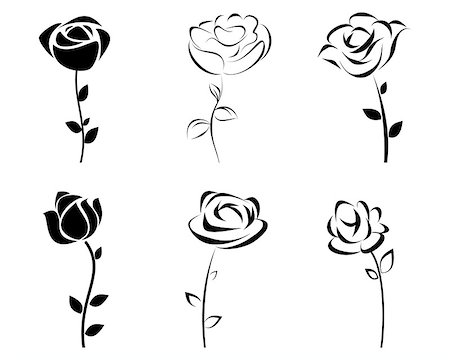 rose vector - Vector illustration of a six roses silhouette Stock Photo - Budget Royalty-Free & Subscription, Code: 400-08377869