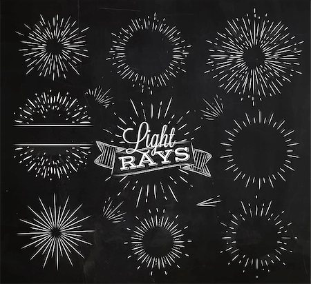 firework illustration - Set light ray in vintage style stylized drawing with chalk Stock Photo - Budget Royalty-Free & Subscription, Code: 400-08378508