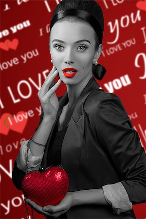portrait of young brunette in valentines day style , she has a red beg like an heart , images half black and white Stock Photo - Budget Royalty-Free & Subscription, Code: 400-08378603