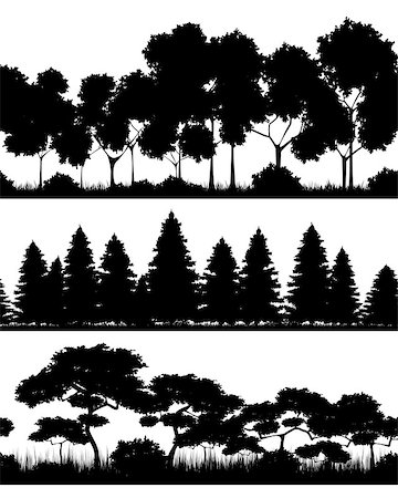 Vector illustration of a three forests silhouettes Stock Photo - Budget Royalty-Free & Subscription, Code: 400-08379558