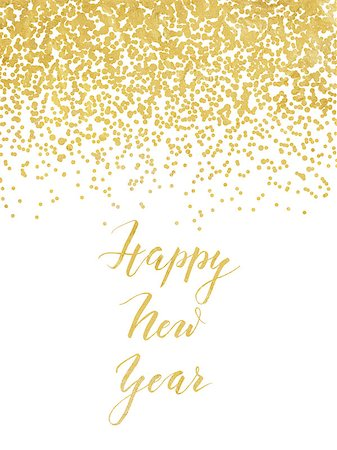 party celebration paper confetti - New Year card or invitation design with golden foil confetti and handlettering Stock Photo - Budget Royalty-Free & Subscription, Code: 400-08371315