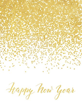 party celebration paper confetti - New Year card or invitation design with golden foil confetti and handlettering Stock Photo - Budget Royalty-Free & Subscription, Code: 400-08371313