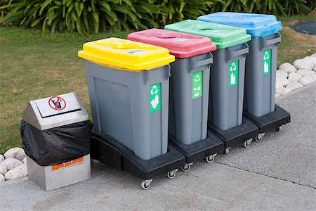 Colorful Recycle Bins photo Stock Photo - Budget Royalty-Free & Subscription, Code: 400-08371561