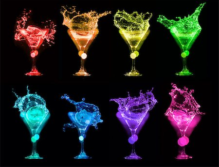 Set of colorful Bright cocktails in glasses on black background Stock Photo - Budget Royalty-Free & Subscription, Code: 400-08373093