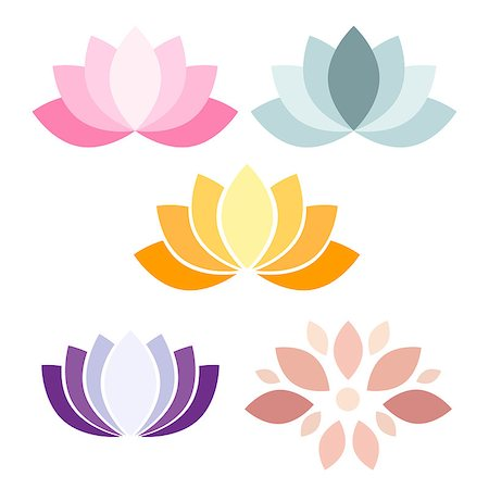 florist vector - Colorful Lotus flower vector icons on white background Stock Photo - Budget Royalty-Free & Subscription, Code: 400-08373149
