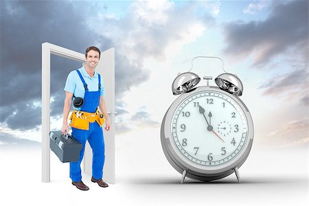 silver box - Happy plumber carrying tool box against alarm clock counting down to twelve Stock Photo - Budget Royalty-Free & Subscription, Code: 400-08380052