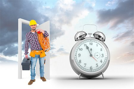 silver box - Handyman holding tool box and multimeter  against alarm clock counting down to twelve Stock Photo - Budget Royalty-Free & Subscription, Code: 400-08380069
