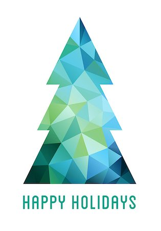 Abstract blue and green Christmas tree with geometric polygon pattern, vector card Stock Photo - Budget Royalty-Free & Subscription, Code: 400-08404851