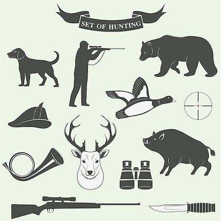 deer hunt - Set of vintage labels on hunting. Vector illustration Stock Photo - Budget Royalty-Free & Subscription, Code: 400-08405298
