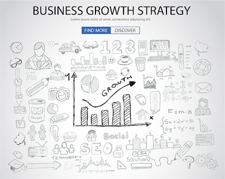 Business Growth Strategy  with Doodle design style :finding solution, brainstorming, creative thinking. Modern style illustration for web banners, brochure and flyers. Stock Photo - Budget Royalty-Free & Subscription, Code: 400-08406258