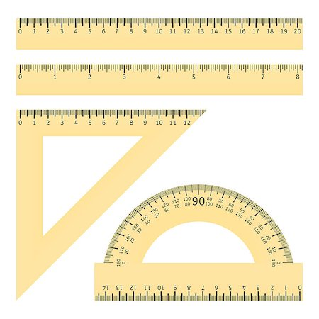 Vector illustration of various rulers and protractor Stock Photo - Budget Royalty-Free & Subscription, Code: 400-08406890