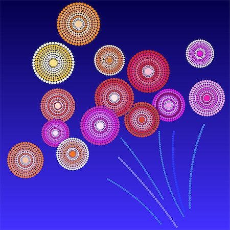 fireworks illustrations - Brightly Colorful Vector Fireworks and Salute- vector isolated on blue background Stock Photo - Budget Royalty-Free & Subscription, Code: 400-08406927