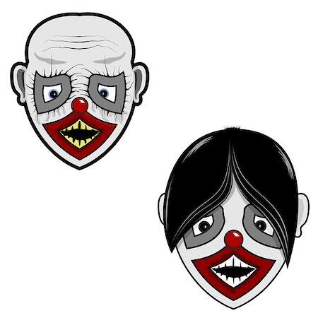 two ghostly face with hair and bald for your use Stock Photo - Budget Royalty-Free & Subscription, Code: 400-08407776