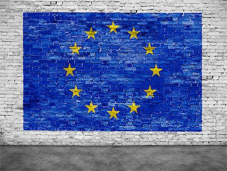 Flag of European Union on white brick wall Stock Photo - Budget Royalty-Free & Subscription, Code: 400-08407852