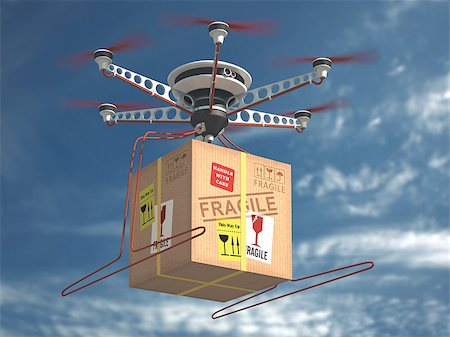 Parcel delivery via drone. The future of mail. Stock Photo - Budget Royalty-Free & Subscription, Code: 400-08408232