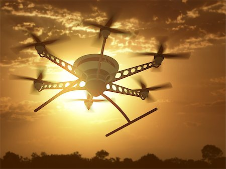 Drone flying under the sunset and cloudy sky. Stock Photo - Budget Royalty-Free & Subscription, Code: 400-08408297