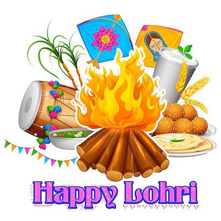 punjabi - illustration of Happy Lohri background for Punjabi festival Stock Photo - Budget Royalty-Free & Subscription, Code: 400-08409981