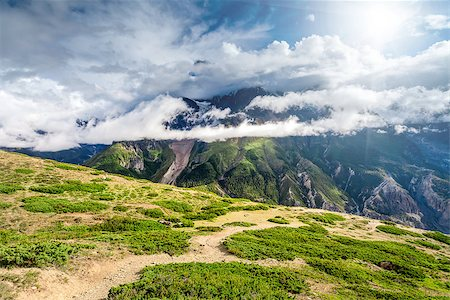 Beautiful mountains landscape with white clouds in Annapurna area Stock Photo - Budget Royalty-Free & Subscription, Code: 400-08401053