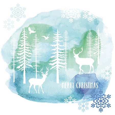 simsearch:400-04399778,k - Christmas card with reindeer and fir tree forest, watercolor painting, vector illustration Stock Photo - Budget Royalty-Free & Subscription, Code: 400-08402866