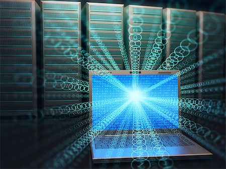 Image concept of technology and science of digital information. One laptop in front of multiple servers with binary numbers on screen. Stock Photo - Budget Royalty-Free & Subscription, Code: 400-08410125