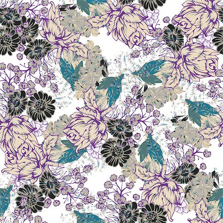 seamless floral - Seamless pattern with Flowers. The pattern for light summer fabrics or wrapping paper.  Hand-drawn illustration.  Vector illustration. Stock Photo - Budget Royalty-Free & Subscription, Code: 400-08410702