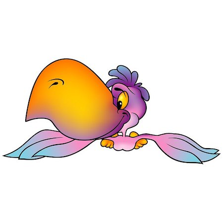 simsearch:400-04399778,k - Pink Flying Parrot With Big Orange Beak - Colored Cartoon Illustration, Vector Stock Photo - Budget Royalty-Free & Subscription, Code: 400-08411185