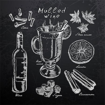 wine, mulled wine and spices drawn in chalk on a blackboard Stock Photo - Budget Royalty-Free & Subscription, Code: 400-08412398