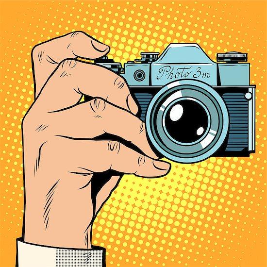 Retro camera snapshot selfie pop art retro style. Photo photography blogger picture technique Stock Photo - Royalty-Free, Artist: studiostoks, Image code: 400-08412950