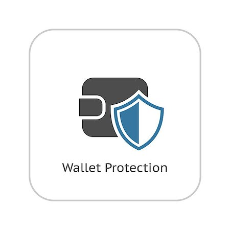 Wallet Protection Icon. Flat Design. Business Concept Isolated Illustration. Stock Photo - Budget Royalty-Free & Subscription, Code: 400-08413027