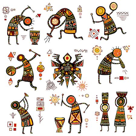 African ethnic patterns of yellow, orange, black and red color Stock Photo - Budget Royalty-Free & Subscription, Code: 400-08413074