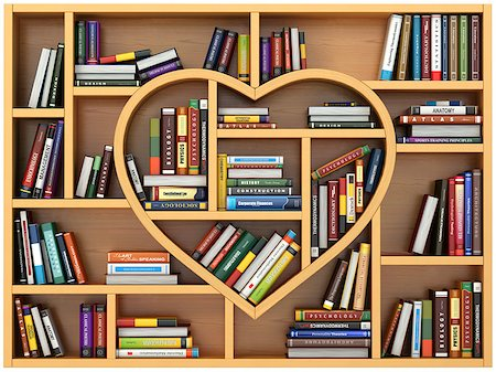 Education concept. Bookshelf with books and textbooks in form of heart. I love reading. 3d Stock Photo - Budget Royalty-Free & Subscription, Code: 400-08413260