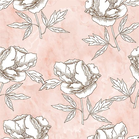 peony in vector - Seamless pattern with  black and white flowers. Vector floral illustration Stock Photo - Budget Royalty-Free & Subscription, Code: 400-08413472