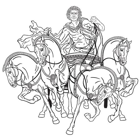 charioteer in a roman quadriga chariot pulled by four horses harnessed abreast . Black and white illustration Stock Photo - Budget Royalty-Free & Subscription, Code: 400-08413553