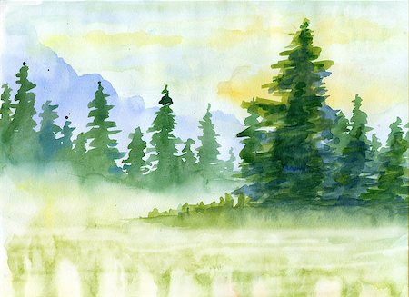 Watercolor background with fir-tree and mountains in fog Stock Photo - Budget Royalty-Free & Subscription, Code: 400-08427296