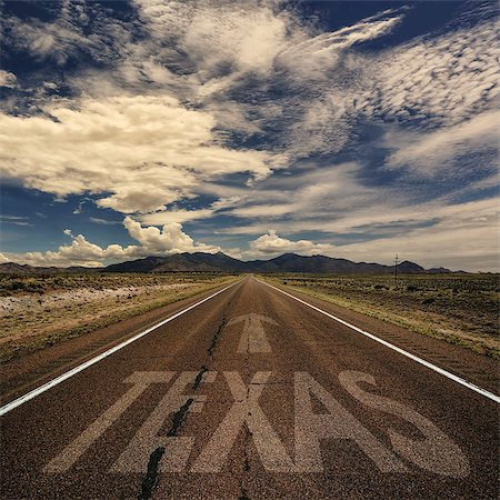 road landscape - Conceptual image of desert road to Texas Stock Photo - Budget Royalty-Free & Subscription, Code: 400-08427526
