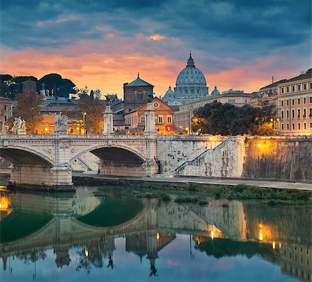 View of Vittorio Emanuele Bridge and the St. Peter's cathedral in Rome, Italy during sunset. Stock Photo - Budget Royalty-Free & Subscription, Code: 400-08428749