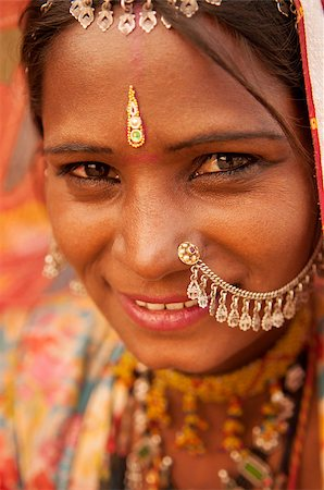 Portrait of traditional Indian Rajasthani woman, India people. Stock Photo - Budget Royalty-Free & Subscription, Code: 400-08430145