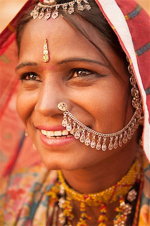 Portrait of Traditional Indian woman in sari costume covered her head with veil, India Stock Photo - Budget Royalty-Free & Subscription, Code: 400-08430146