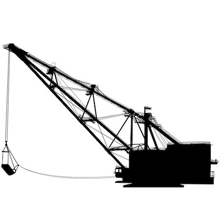 Dragline walking excavator with a ladle. Vector illustration. Stock Photo - Budget Royalty-Free & Subscription, Code: 400-08494537