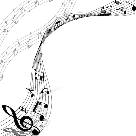 simsearch:400-05714680,k - Musical Design Elements From Music Staff With Treble Clef And Notes in Black and White Colors. Elegant Creative Design With Shadows and Isolated on White. Vector Illustration. Stock Photo - Budget Royalty-Free & Subscription, Code: 400-08495928