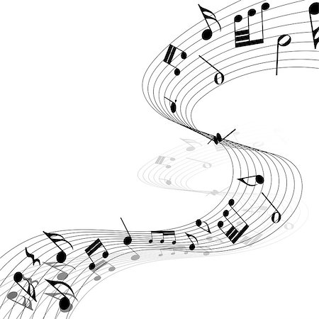 simsearch:400-05714680,k - Musical Design Elements From Music Staff With Treble Clef And Notes in Black and White Colors. Elegant Creative Design With Shadows and Isolated on White. Vector Illustration. Stock Photo - Budget Royalty-Free & Subscription, Code: 400-08495929