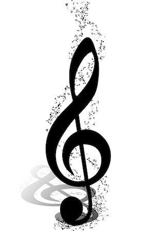 simsearch:400-05714680,k - Musical Design Elements From Music Staff With Treble Clef And Notes in Black and White Colors. Elegant Creative Design With Shadows and Isolated on White. Vector Illustration. Stock Photo - Budget Royalty-Free & Subscription, Code: 400-08495930