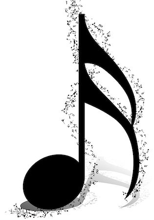 simsearch:400-05714680,k - Musical Design Elements From Music Staff With Treble Clef And Notes in Black and White Colors. Elegant Creative Design With Shadows and Isolated on White. Vector Illustration. Stock Photo - Budget Royalty-Free & Subscription, Code: 400-08495932