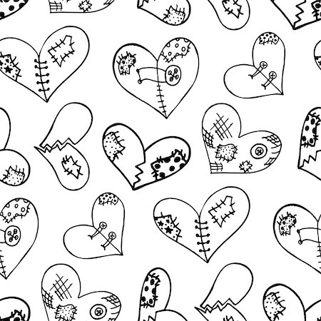 Seamless pattern with the hand drawn ink doodle hearts. Pattern in the swatches panel. Stock Photo - Budget Royalty-Free & Subscription, Code: 400-08498284