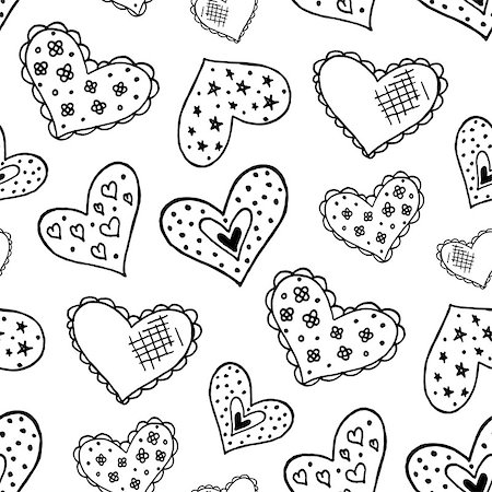 Seamless pattern with the hand drawn ink doodle hearts. Pattern in the swatches panel. Stock Photo - Budget Royalty-Free & Subscription, Code: 400-08498285